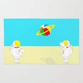 Space Odyssey | Astronaut Beach | Beach Ball | Summer | Sea | Seaside | Ocean | pulp of wood Rug