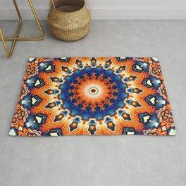 Geometric Orange And Blue Symmetry Rug
