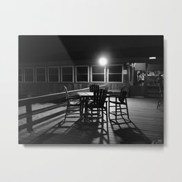 Pier Chairs At Night Metal Print