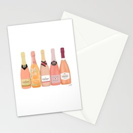 Rose Champagne Bottles Stationery Cards