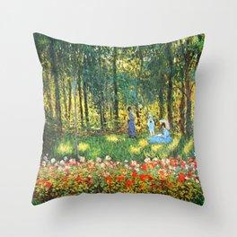 Claude Monet The Artist's Family In The Garden Throw Pillow