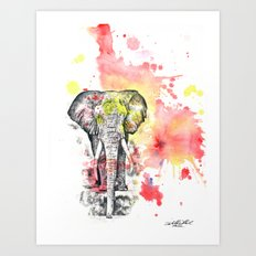 Elephant in a Splash of Color Painting Art Print