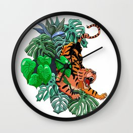 Stylish colorful poster with tropical wild animal. Amazing big asian tiger. Wall Clock