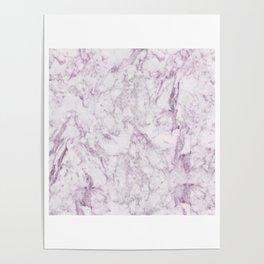 Elegant modern vintage white lilac violet marble Poster