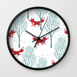 red wolf Wall Clock