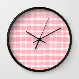 Watercolor Brushstroke Plaid Pattern Pantone Conch Shell Pink 15-1624 on White Wall Clock