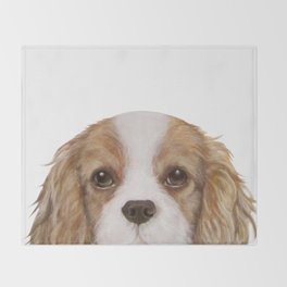 Cavalier King Charles Spaniel Dog illustration original painting print Throw Blanket