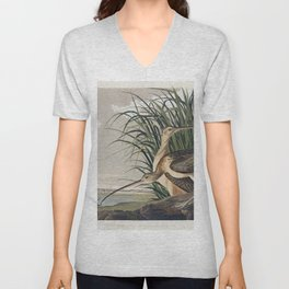 Long-billed Curlew from Birds of America (1827) by John James Audubon etched by William Home Lizars Unisex V-Neck
