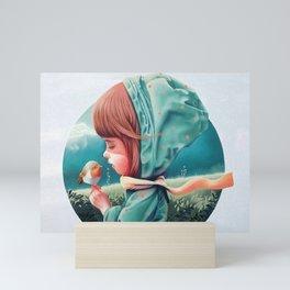 Girl & Bird Mini Art Print
