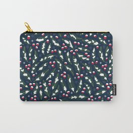 Winter Berries in Navy Carry-All Pouch