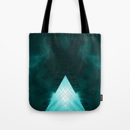 Turquoise skyscraper mill V WH Tote Bag