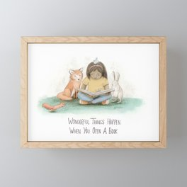 Wonderful Things Happen When you Open a Book Framed Mini Art Print