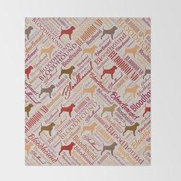 Bloodhound dog Word Art pattern Throw Blanket