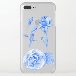 Blue Roses Watercolor Clear iPhone Case
