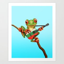 Tree Frog Playing Acoustic Guitar with Flag of Bulgaria Art Print
