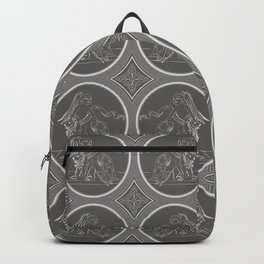Grisaille Charcoal Grey Neo-Classical Ovals Backpack