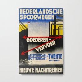 Nieuwe Nachttreinen 1931 Vintage Travel Poster Metal Print
