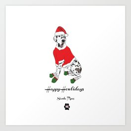 Happy Howlidays - Santa Paws Art Print