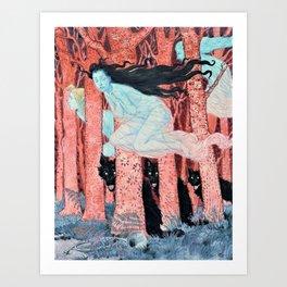 Eugene Grasset - Three women and three wolves - Digital Remastered Edition Art Print