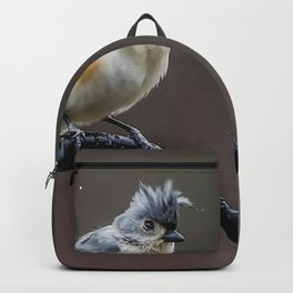 Tufted Titmouse shaking off the rain Backpack