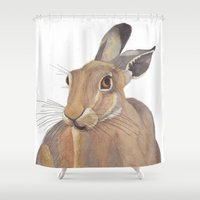 hare Shower Curtains featuring Hare by ByKellyAttenborough