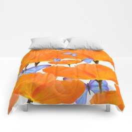 Poppies And Butterflies White Background #decor #society6 #buyart Comforters