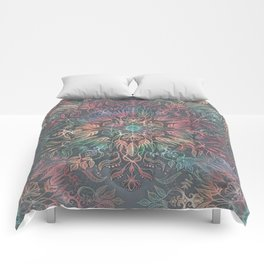 Winter Sunset Mandala in Charcoal, Mint and Melon Comforters