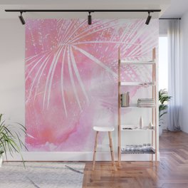 Abstract Pink Palm Tree Leaves Design Wall Mural