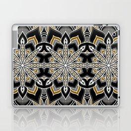 Mandala: Black White Brown Flower Laptop & iPad Skin