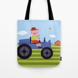 Pig on Tractor Tote Bag