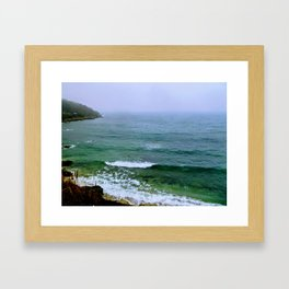 Rain on the ocean Framed Art Print