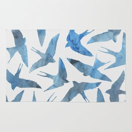 Watercolor blue birds Rug