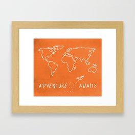 Adventure Map - Retro Orange Gerahmter Kunstdruck