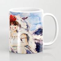 princess mononoke Mugs featuring Princess Mononoke by Tiffany Willis