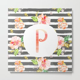 P botanical monogram. Letter initial with colorful flowers and gray stripes Metal Print