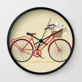 Flower Basket Bicycle Illustration Wall Clock