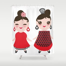 Spanish Woman flamenco dancer. Kawaii cute face with pink cheeks and winking eyes. Gipsy girl Shower Curtain