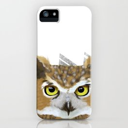 Great Horned Owl & Poly Thoughts iPhone Case