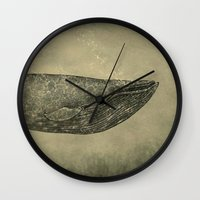 damask Wall Clocks featuring Damask Whale  by Terry Fan