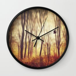 the art of falling apart - abstract trees in morning light Wall Clock