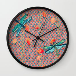 Flowing Flowers and Dragonflies Wall Clock