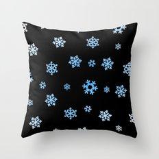 Snowflakes (Blue & White on Black) Throw Pillow