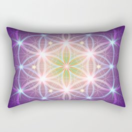 Purple Flower of Life Rectangular Pillow