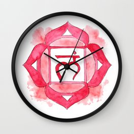 Muladhara chakra watercolor painting Wall Clock