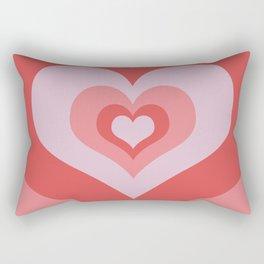 Radiating Hearts Pink Rectangular Pillow