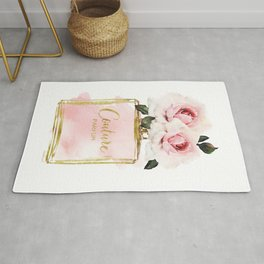 Perfume bottle with Flowers, Pink Roses, Make up, Blush Rug