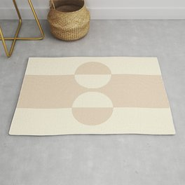 Geometric lines in Shades of Coffee and Latte 2 Color Theme Rug