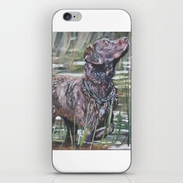 the Chesapeake Bay Retriever dog art from an original painting by L.A.Shepard iPhone Skin