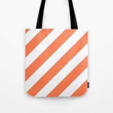 Coral diagonal striped pattern Tote Bag