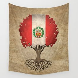 Vintage Tree of Life with Flag of Peru Wall Tapestry